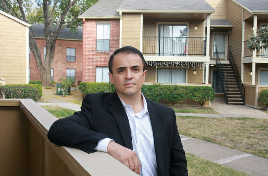 Carlos Vaz, 33, president and founder of the Dallas-based Conti Group, at his Villa Ana apartments. He buys apartment complexes and renovates them, turning the complexes around quickly. Photo: Gary Fountain:, For The Chronicle