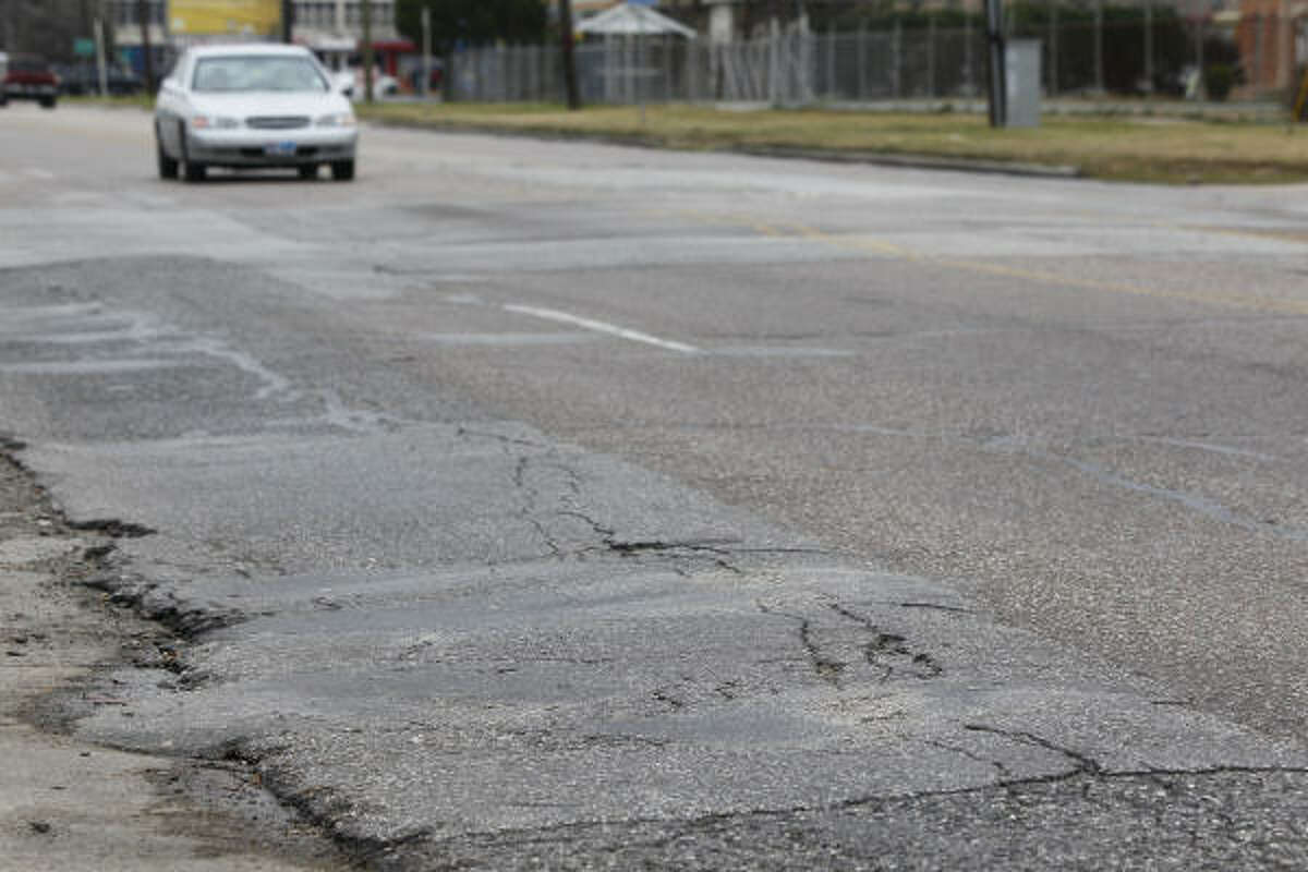 Vehicles tend to move carefully — or else — in the 2300 to 2600 blocks of Broadway, one of the worst major stretches of road in Houston.