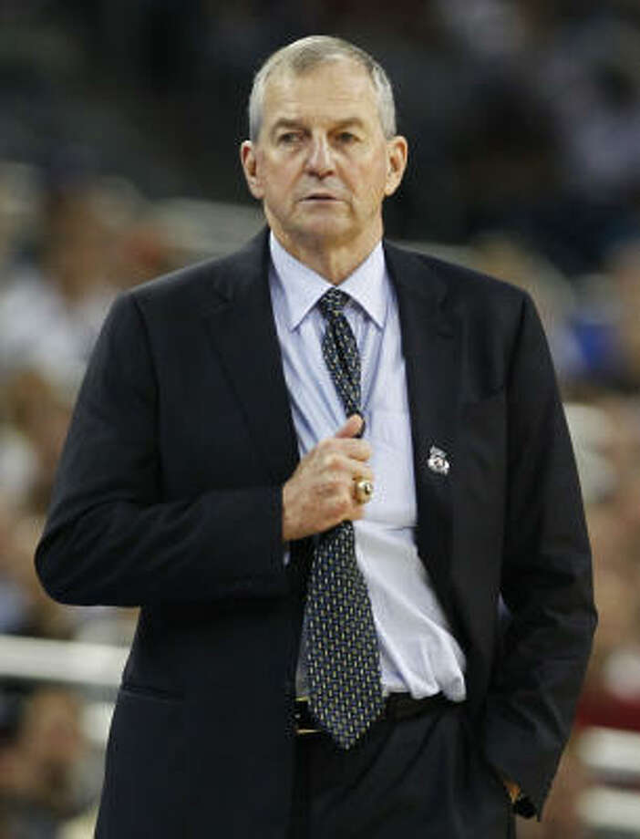 If Jim Calhoun wins his third national championship Monday, he'll join John Wooden, Adolph Rupp, Bob Knight and Mike Kzryzewski as the only coaches in the history of college basketball to do so. Photo: Nick De La Torre, Chronicle