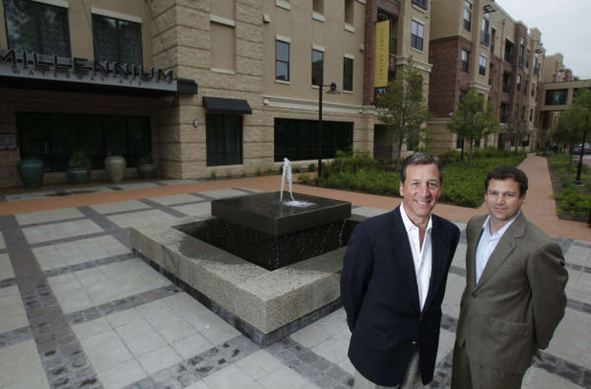 Jack Dinerstein, left, and son Brian Dinerstein developed Millennium Waterway Ave in The Woodlands. It's LEED-registered.