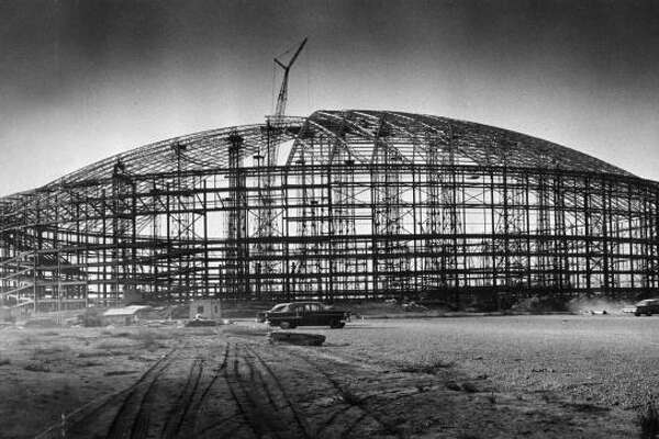 Construction of the Astrodome shell in October 1963.