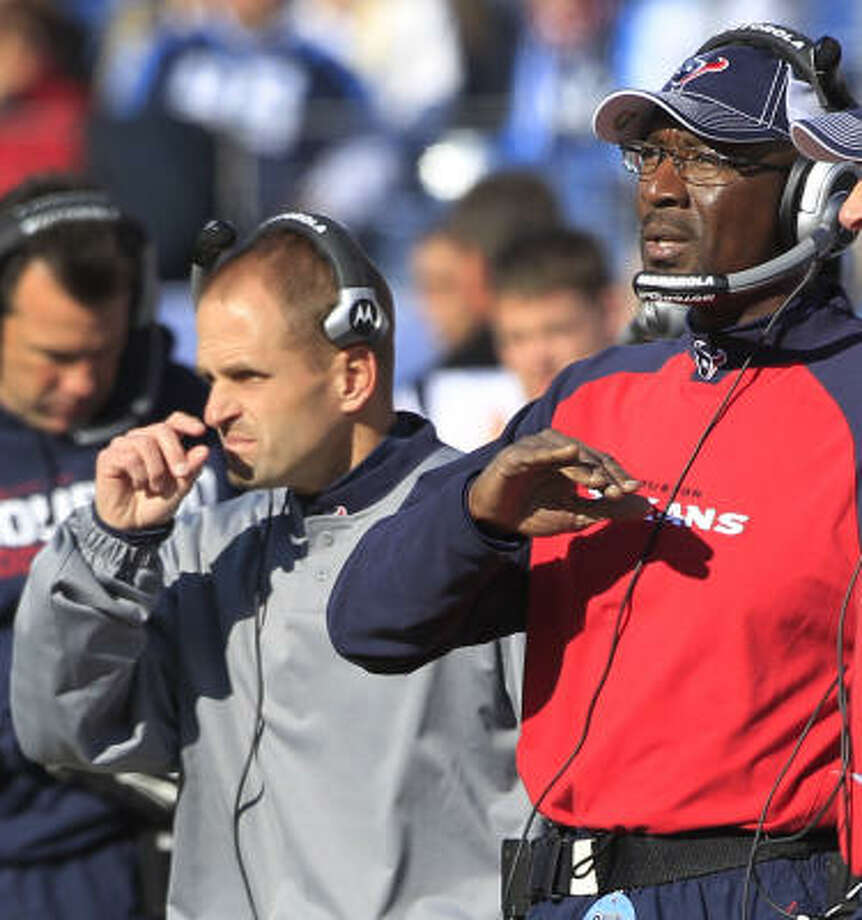 Texans defensive backs coach David Gibbs, left, and linebackers coach Johnny Holland are two of the four coaches who were fired on Monday. Photo: Brett Coomer, Chronicle