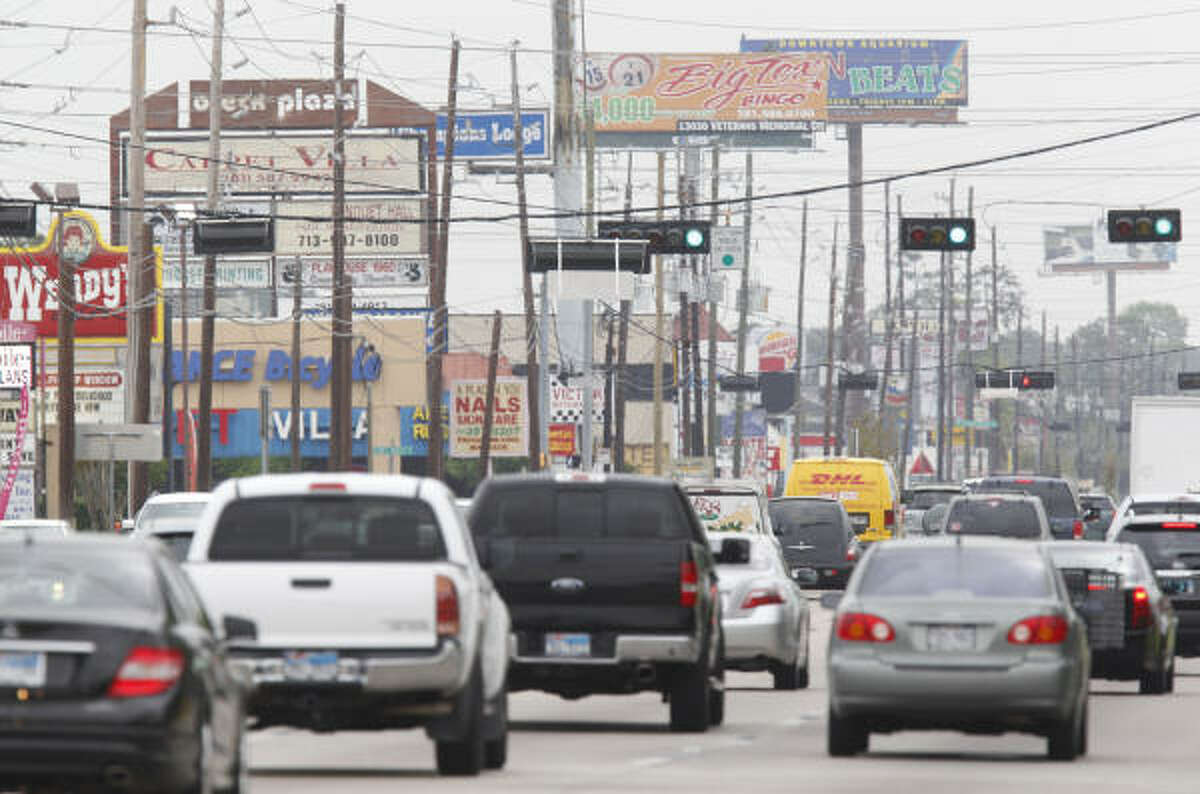 Heavy traffic meets commercial clutter along the 4000 block of FM 1960 near Stuebner Airline. The Houston area isn't the only metro area with traffic drama. Keep clicking to see others.