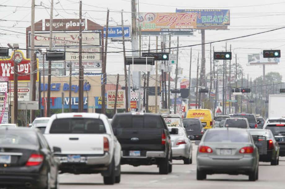 Heavy traffic meets commercial clutter along the 4000 block of FM 1960 near Stuebner Airline.The Houston area isn't the only metro area with traffic drama. Keep clicking to see others. Photo: Melissa Phillip, Houston Chronicle