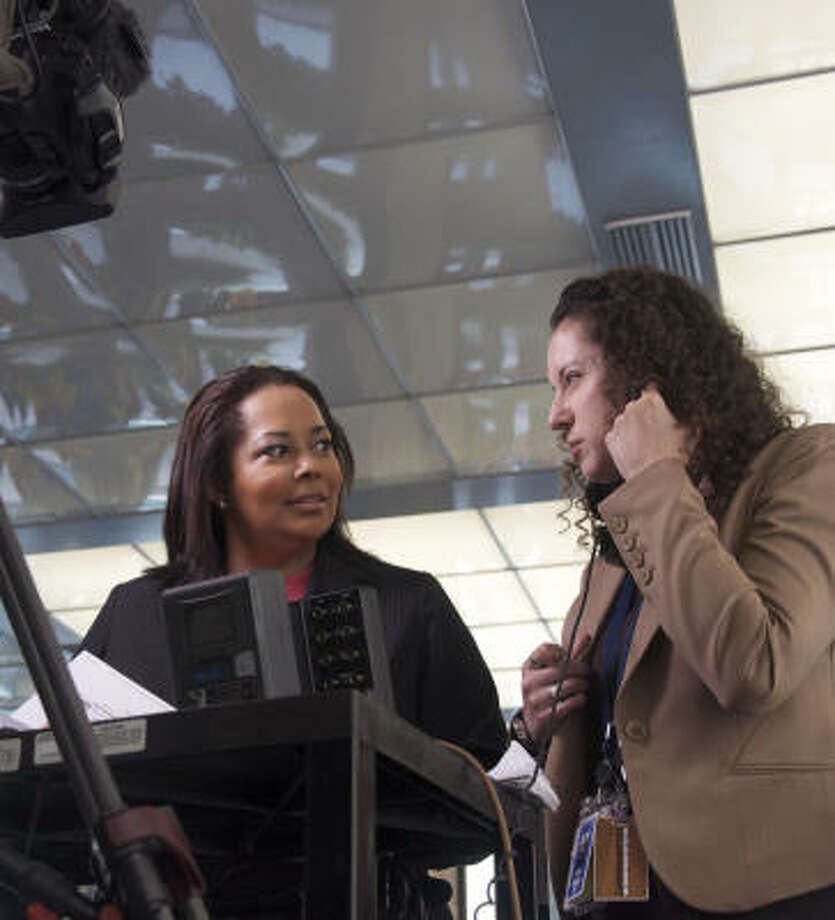 Rosiland Jordan, left, Washington correspondent for Al-Jazeera English, and her producer, Camille Elhassani, prepare for a report last week on North Korea. Photo: Sarah Tung, Hearst Newspapers