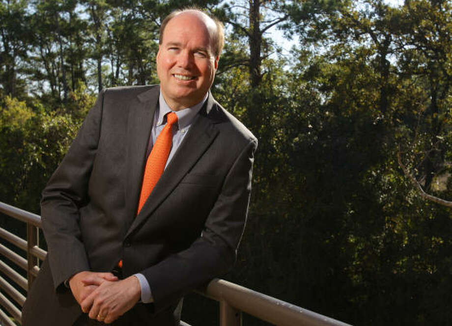Larry Kellner discusses his vision for the University of Houston, the Texas Medical Center and the Texas Enterprise Fund. Photo: Nick De La Torre:, Chronicle