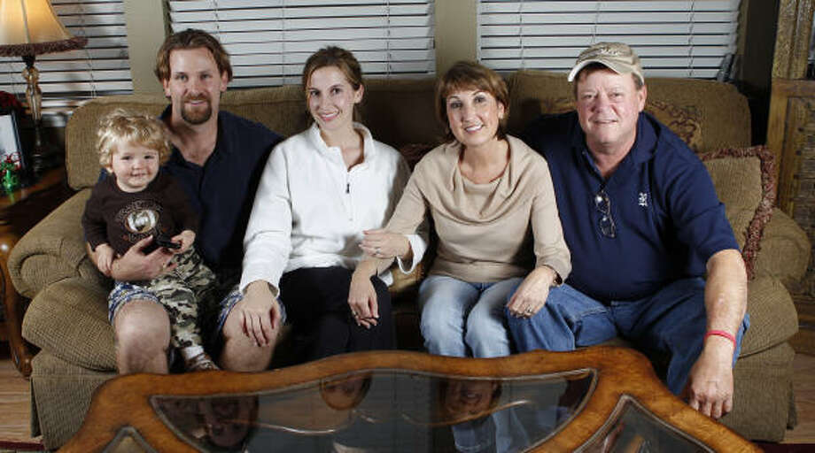 Trey McKirahan, from left, with his wife, Melissa McKirahan, and their son, Hunter, 17-months-old, with Melissa's parents, Cindy Pott and John Pott. Trey donated a kidney to John. Photo: Melissa Phillip, Houston Chronicle