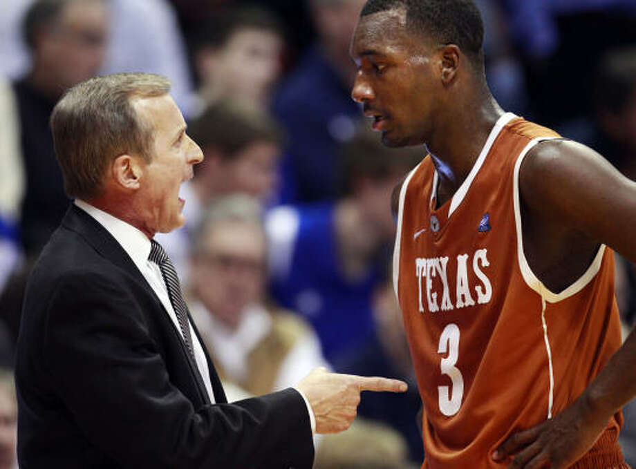Texas coach Rick Barnes could find flaws, such as players like Jordan Hamilton avoiding simple plays. Photo: Orlin Wagner, AP