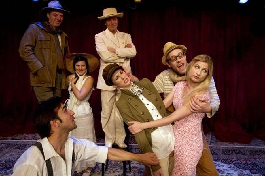 Foreground from left to right, Jonathan Perrein as Orlando, Jessica Boone as Rosalind, Phillip Hays as Silrius, and Laura Baranik as Phebe. Background from left to right, Bob Boudreaux as Duke Senior, Fanette Ronjat as Celia, and Pavel Kríz as Jacques. Photo: Johnny Hanson, Houston Chronicle