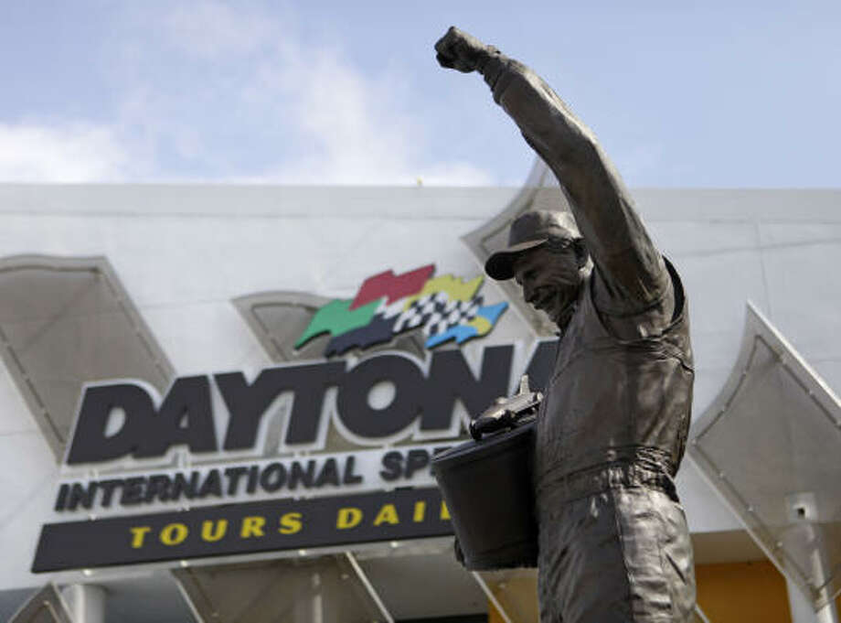 Dale Earnhardt, who has a statute in front of Daytona International Speedway, once dominated NASCAR the way Jimmie Johnson has recently. Photo: Lynne Sladky, AP