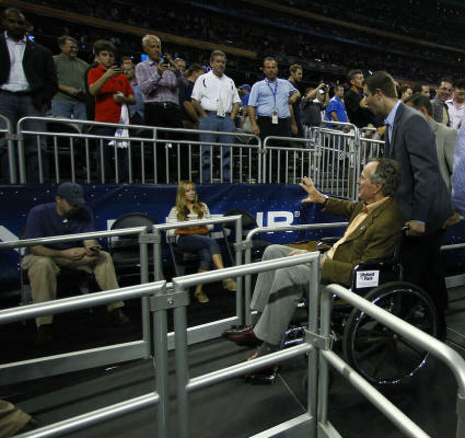 Butler fan George H.W. Bush is pleased with the Final Four festivities around town. Photo: Nick De La Torre, Chronicle