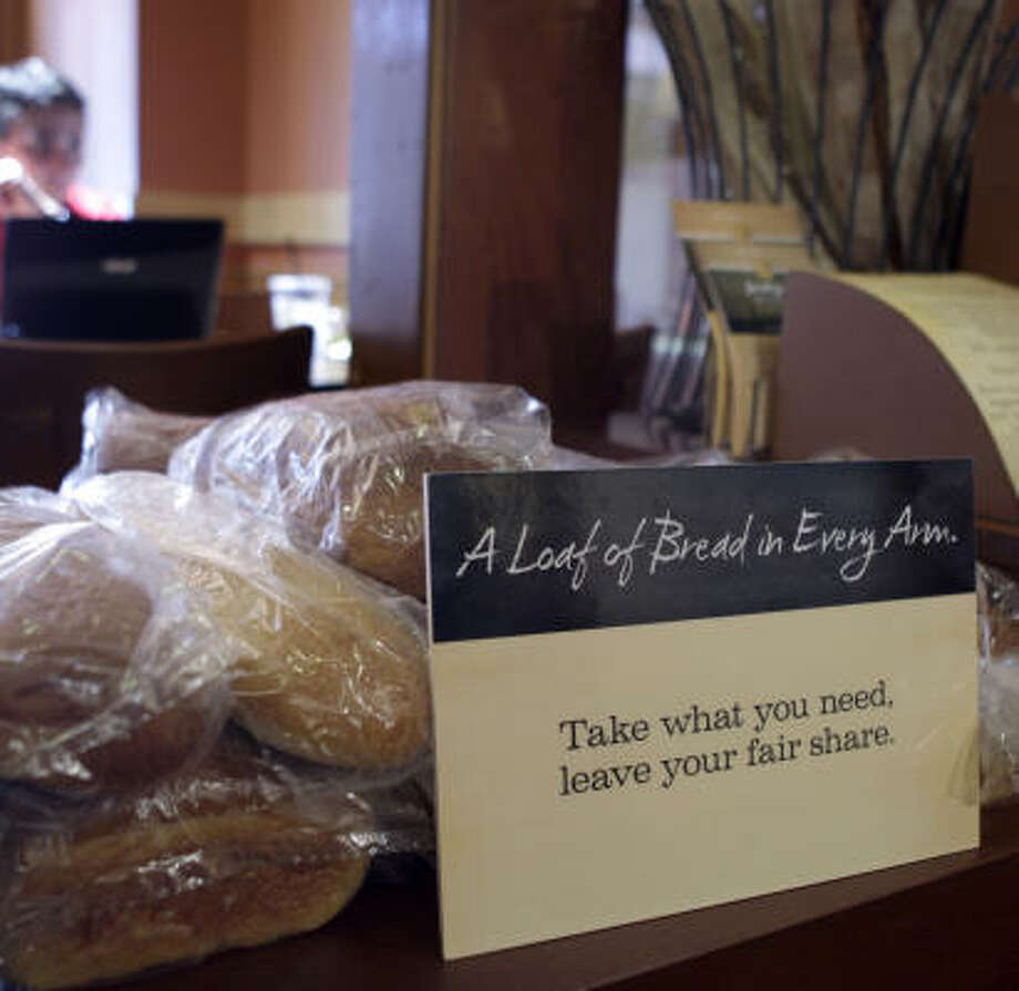 Bread is free at a Panera Bread in Clayton, Mo. The cafe opened May 16, 2010, and is doing so well that Panera has opened similar restaurants in suburban Detroit and Portland, Ore. Photo: Jeff Roberson, Associated Press