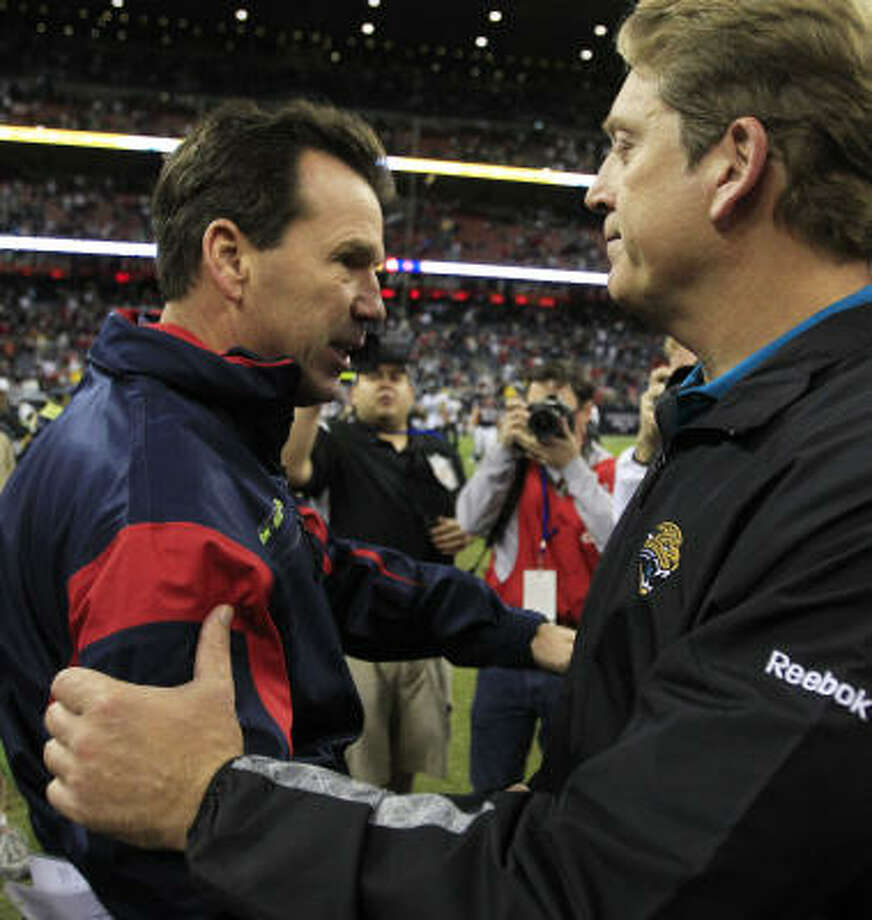 Patient owners will allow Sunday's coaches at Reliant Stadium - Gary Kubiak, left, and the Jaguars' Jack Del Rio - to keep their jobs despite 2010 records of 6-10 and 8-8. Photo: Brett Coomer, Chronicle