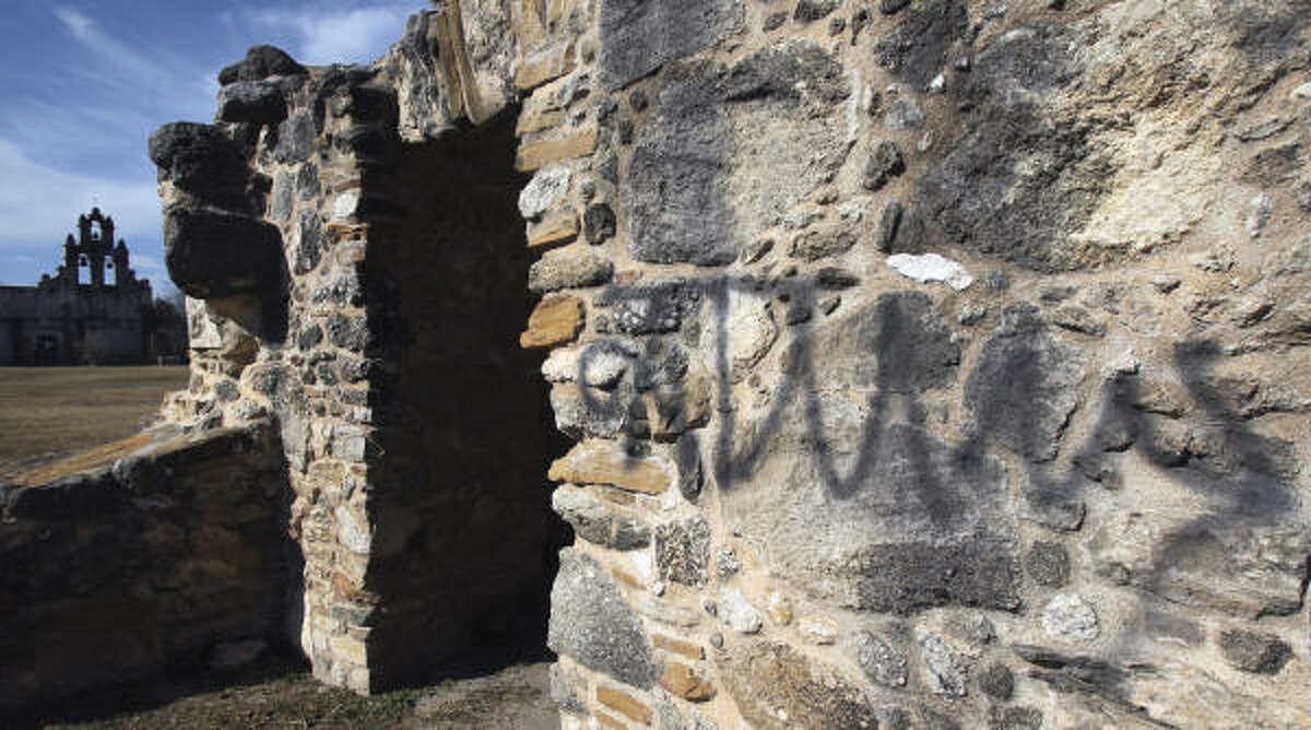 State Rep. Joe Farias was stunned and upset when graffiti was sprayed on the Mission San Juan in January, because he was baptized there and so was his mother.