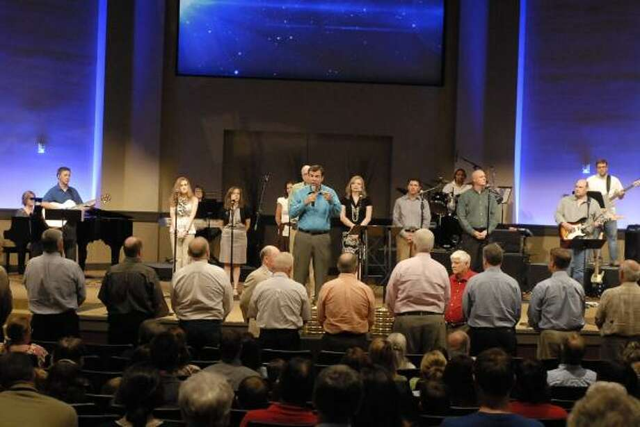 CHURCH CELEBRATION: Fairfield Baptist Church and senior pastor Jim Daniel celebrated completion of a 700-seat worship center on April 16. Photo: Tony Bullard, For The Chronicle