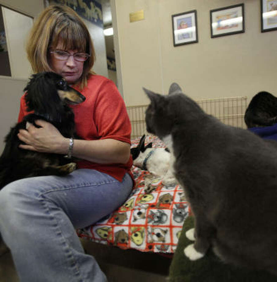 Caretaker Kim Muth comforts Mac in the communal pet room at Texas A&M University's Stevenson Companion Animal Life-Care Center. Photo: Mayra Beltran, Chronicle