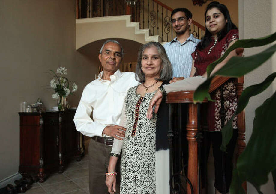 Ramesh Bhutada and his wife Kiran, and their son Rishi Bhutada and his wife Shradha. Photo: Mayra Beltran, Chronicle