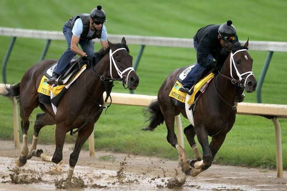 Uncle Mo, left, drew post position No. 18 Wednesday and was made the 9-2 second choice in the $2 million race. Photo: Matthew Stockman, Getty