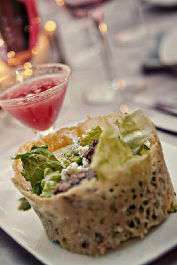 A Fare Extraordinaire's Summer Salad in a Parmesan Cuff and Watermelon Gazpacho in a mini martini glass. Photo: AMY VOGEL