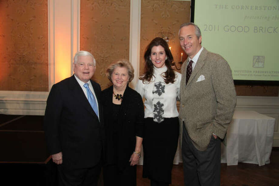 Gene Vaughan, from left, Susan Vaughan, Phoebe Tudor and Bobby Tudor were the chairs at this year's Greater Houston Preservation Alliance's Cornerstone Dinner. Photo: Pete Baatz, Formula One Photography