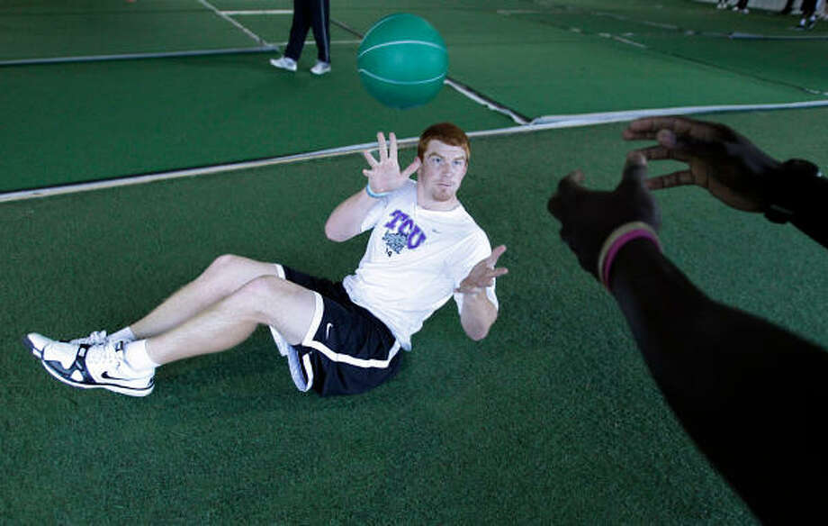 TCU alum Andy Dalton trains twice a day, doing drills to improve things such as flexibility, agility, strength and speed. Photo: Mayra Beltran, Chronicle