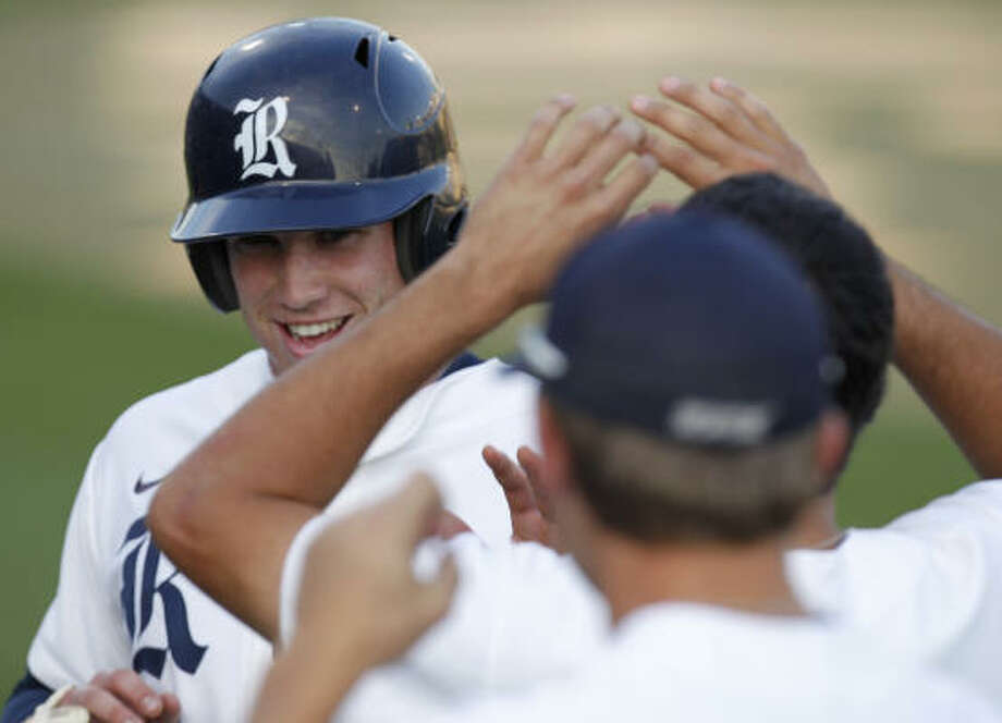 Rice second baseman Michael Ratterree had plenty to smile about on Sunday. Photo: Cody Duty, Chronicle