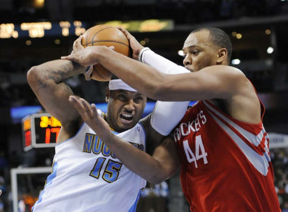 Nuggets forward Carmelo Anthony remained on the Rockets' radar after his 50-point performance against them. Photo: Jack Dempsey, AP