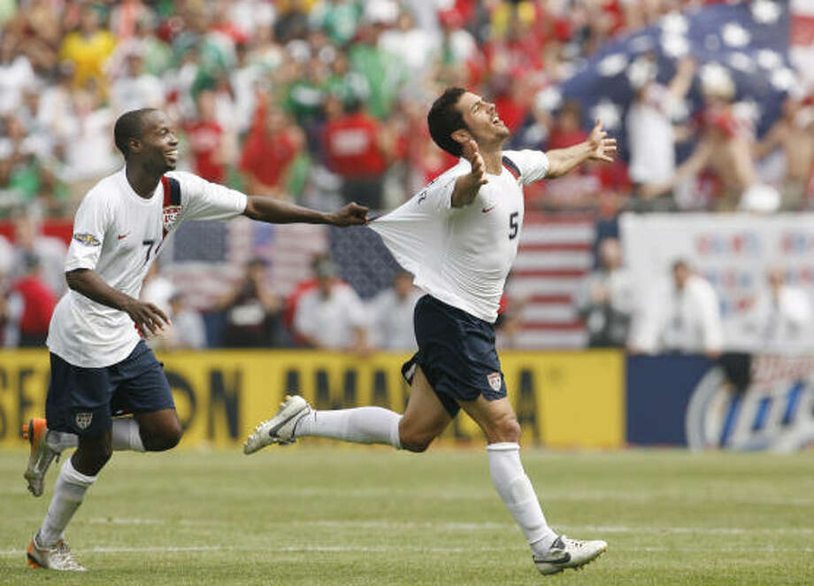 One of the career highlights for Benny Feilhaber, right, was a goal against Mexico in 2007 that earned a tug from DaMarcus Beasley and a Gold Cup title for the U.S. Photo: Nam Y. Huh, AP