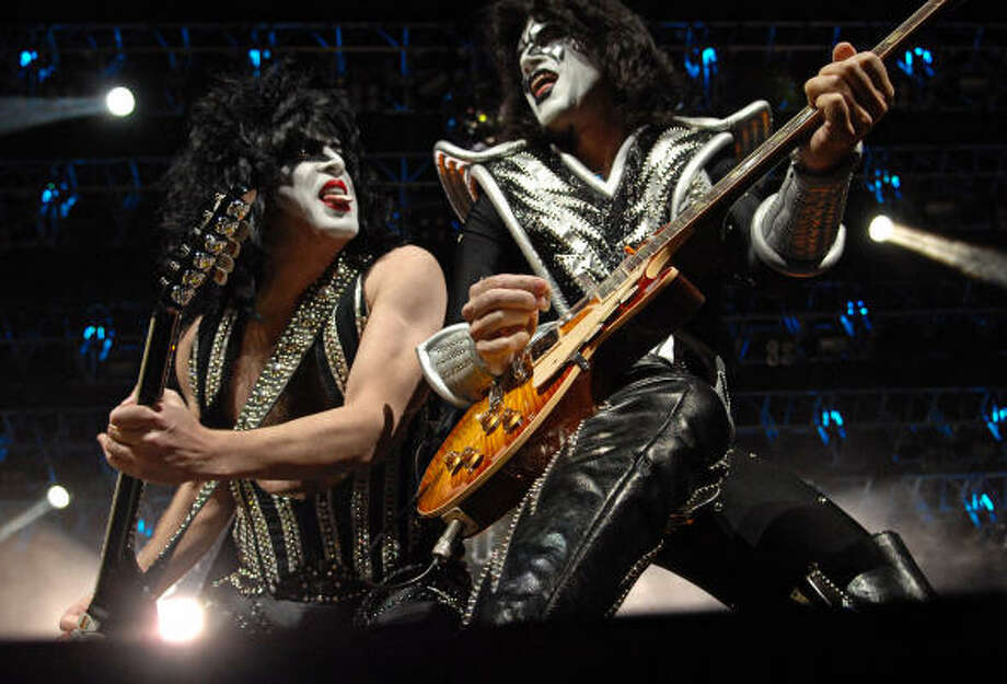 Paul Stanley, left, and Tommy Thayer and the rest of KISS are ready for a big show at Reliant Stadium on March 15. Photo: Tre'  Ridings, For The Chronicle