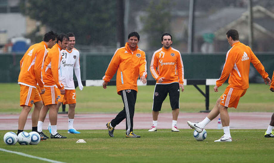 The Dynamo have a wealth of target forwards, such as Brian Ching, center left, but have a need for a player up front who can stretch the field. Photo: James Nielsen, Chronicle