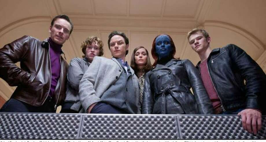 Erik (Michael Fassbender, from left), Banshee (Caleb Landry Jones), Charles (James McAvoy), Moira (Rose Byrne), Raven (Jennifer Lawrence) and Havok (Lucas Till) join forces to prevent the greatest disaster the world has ever known. Photo: Twentieth Century Fox
