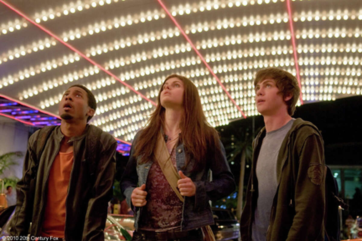 (L-R) Brandon T. Jackson as Grover, Logan Lerman as Percy Jackson and Alexandra Daddario as Annabeth in