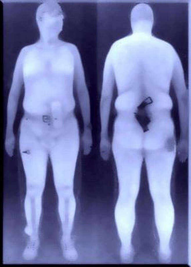A scan shows a shadowy human figure but clearly reveals a hidden weapon. Some religious groups are concerned that scans also show the outlines of body parts. Photo: RAPISCAN SECURITY PRODUCTS