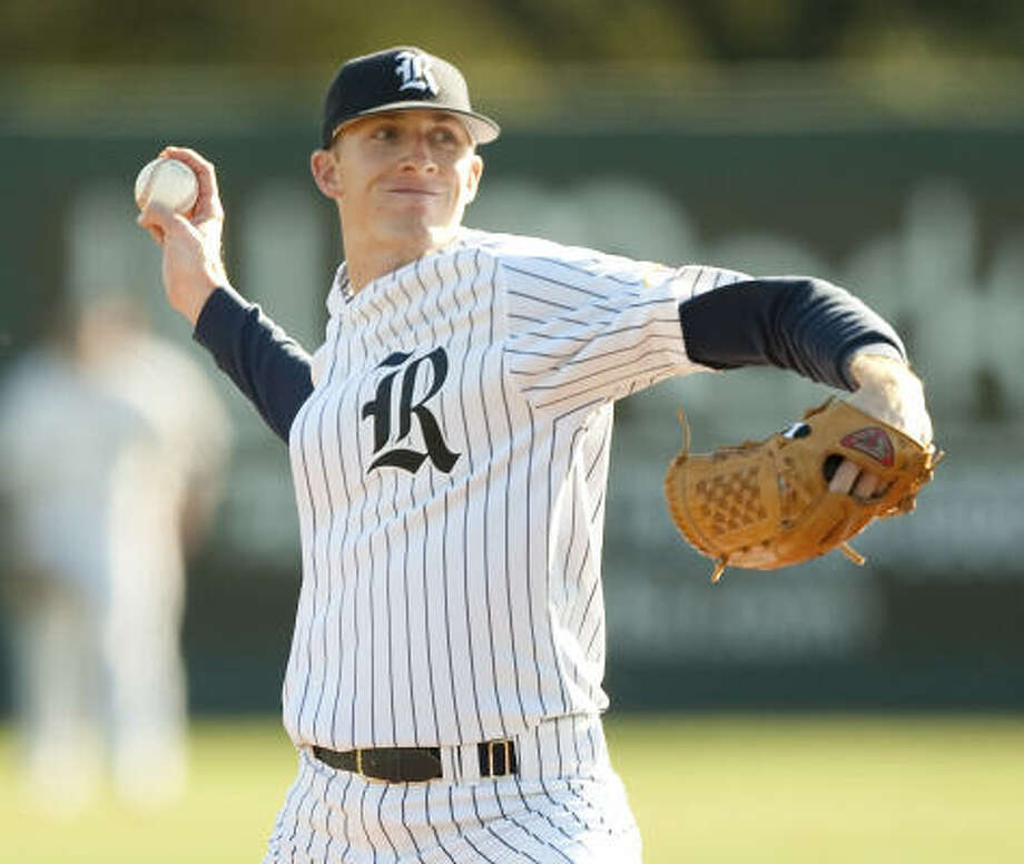 Rice pitcher Jared Rogers lowered his ERA to 2.13 with the six good innings. Photo: Bob Levey, For The Chronicle