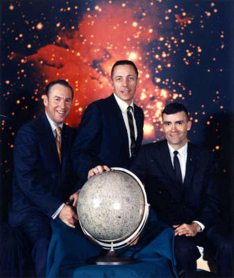 Apollo 13's James A. Lovell Jr., commander, left; John L. Swigert Jr., command module pilot; and Fred W. Haise Jr., lunar module pilot, before the 1970 mission. Photo: NASA