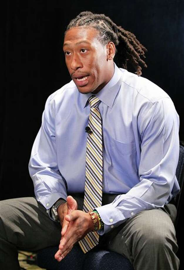 West Virginia defensive end Bruce Irvin answers questions during the Big East football media day Tuesday, Aug. 2, 2011, in Newport, R.I.. (AP Photo/Stew Milne) Photo: AP