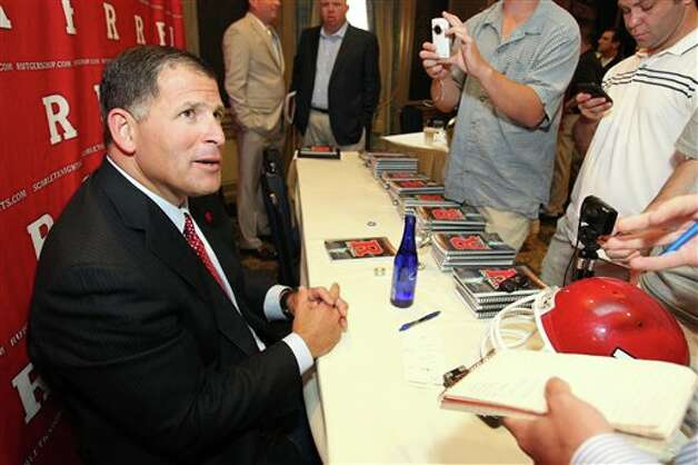 Rutgers head football coach Greg Schiano speaks to the media during the Big East football media day Tuesday, Aug. 2, 2011, in Newport, R.I.. (AP Photo/Stew Milne) Photo: AP