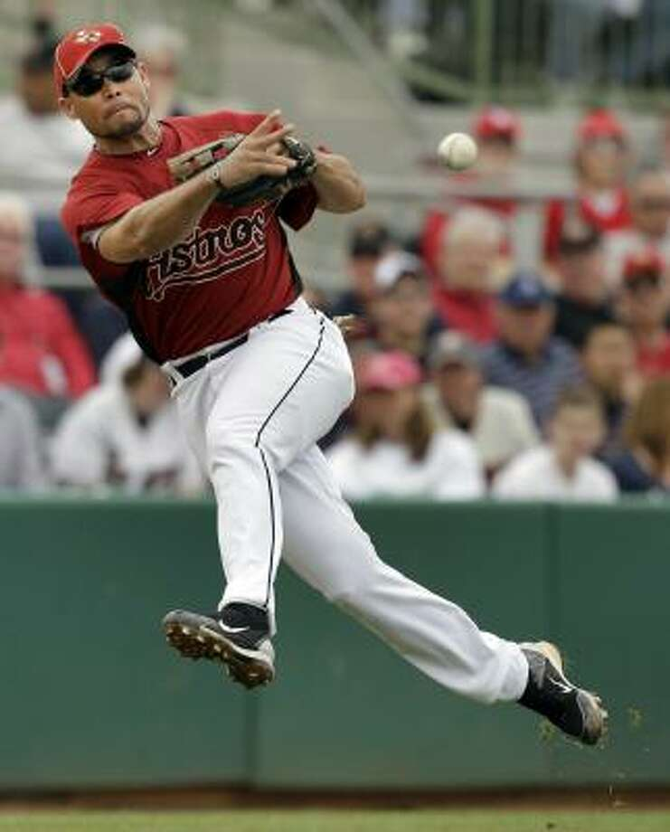 Pedro Feliz has spent portions of the past few days working on drills at first base. Photo: Charlie Riedel, AP