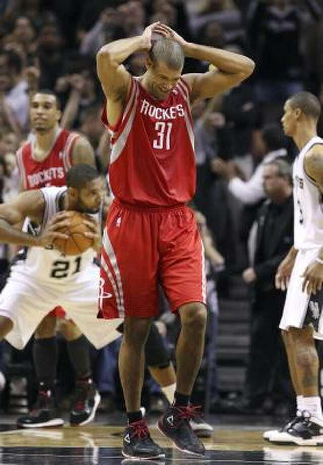 Rockets forward Shane Battier reacts after the loss. Photo: EDWARD A. ORNELAS, SAN ANTONIO EXPRESS-NEWS