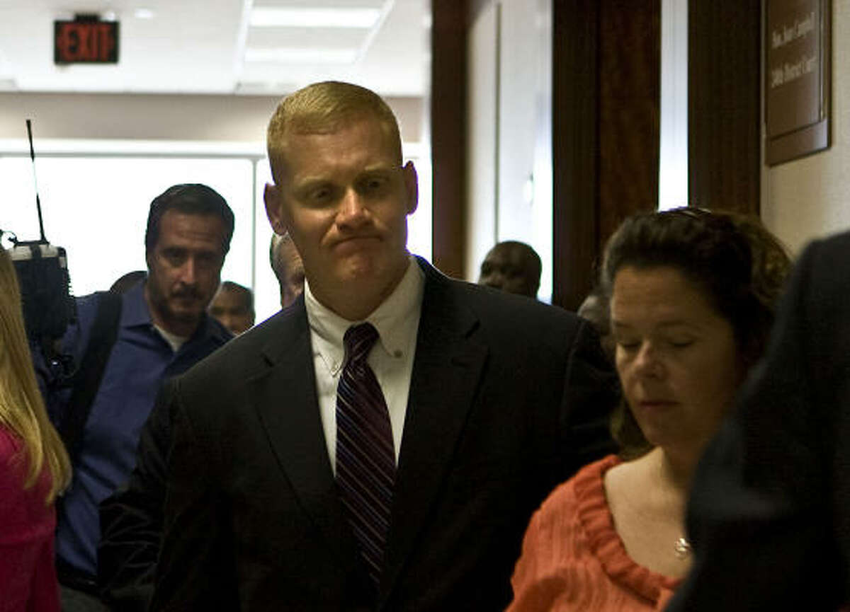 Bellaire Police Department Sgt. Jeffrey Cotton seen outside the courtroom Monday, denies allegations that his actions were racially motivated.
