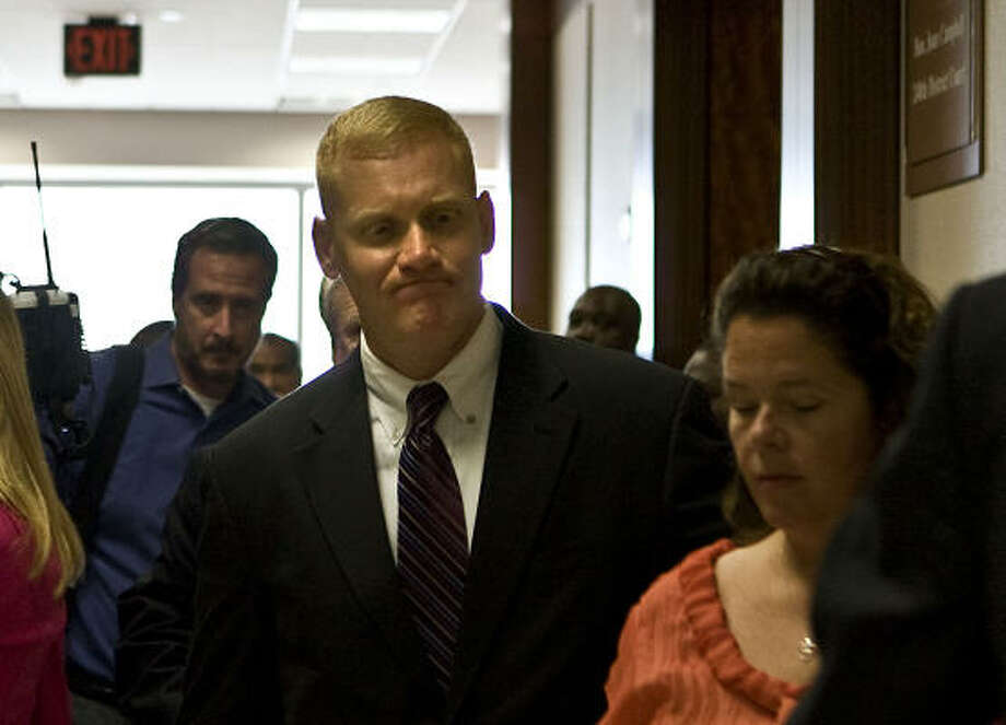 Bellaire Police Department Sgt. Jeffrey Cotton seen outside the courtroom Monday, denies allegations that his actions were racially motivated. Photo: James Nielsen, Chronicle
