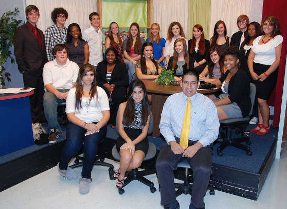 CFTV DISTRICT NEWS: In the studio, from left, front row are: Christina Lindgren, Giulliana Flores and Peter Libreros; middle row: George Boyd, Luchana Ivey, Haley Gunn, Taylor Demski, Liz Finnerty and Tahira Smith; top row: Ben Granger, Jorge Rodriguez, Michalet Lumpkin, Wayne Beaumier, Kelsey Johnson, Lauren Coats, Erica Lewandoski, Taylor Womack, Sonya Joldzik, Maddison Hughes, Cody Koehler, Alex Strawter and Yazil Perez. Photo: Cy-Fair ISD