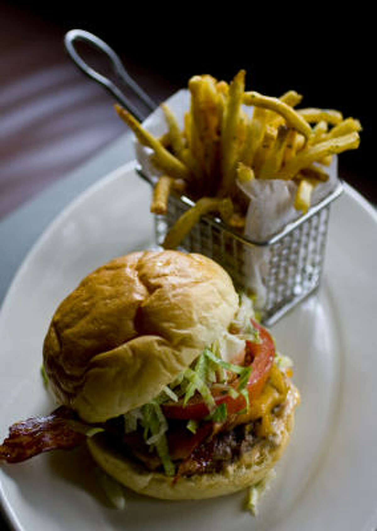 The BRC Pub Burger with french fries