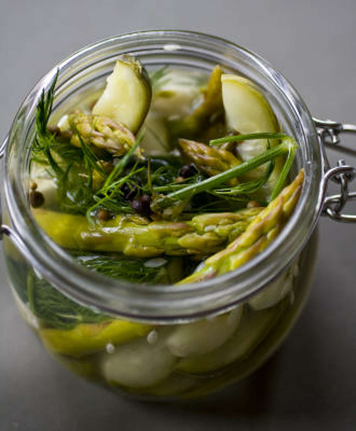 House-cured half-sour garlic, dill pickles and asparagus