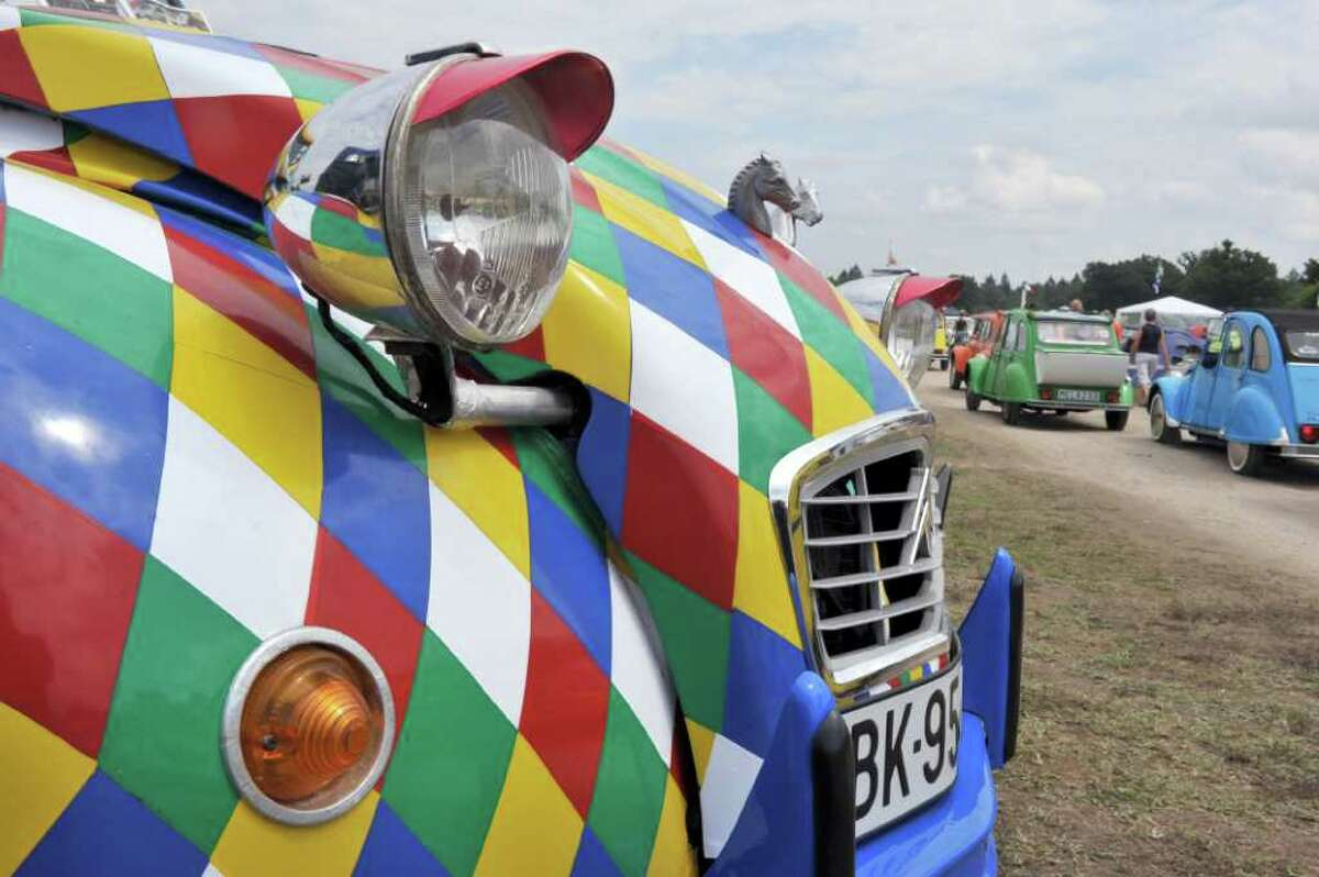 The front of a customized Citroen 2CV car is pictured on July 27, 2011 in Salbris, France during the 19th World meeting of 2 CV Friends.