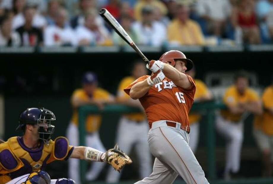 Texas designated hitter Russell Moldenhauer has provided the Longhorns with plenty of key postseason hits. Photo: Elsa, Getty Images