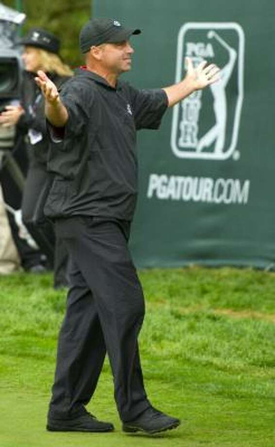 Rocco Mediate celebrates after winning the Frys.com Open at the CordeValle Golf Club on Sunday. Photo: Robert Laberge, Getty Images