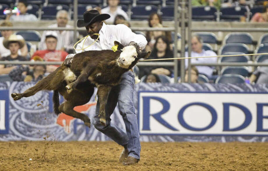 Local legend Fred Whitfield secured his in a sizzling 7.7 seconds to win Semifinal II and advance to the RodeoHouston Championship round for the first time since the Super Series started in 2007. Photo: Eric Kayne, For The Chronicle