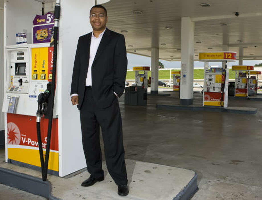 "Sherman Lewis III, a local businessman who owns 10 Shell stations, favors the use of green energy but doesn't want to advance it with new taxes on oil companies. He will participate in a session on entrepreneurs' perspectives on energy.    ""It's not going to be companies that are paying the tax,"" said Lewis, who owns 10 Shell stations. ""It's going to be the end users of that - it's going to be small businesses and it's going to be individual consumers."" poses in front of one of his ten Shell gas stations on Wednesday, July 21, 2010, in Houston. Photo: Yasmeen Smalley :, Chronicle"