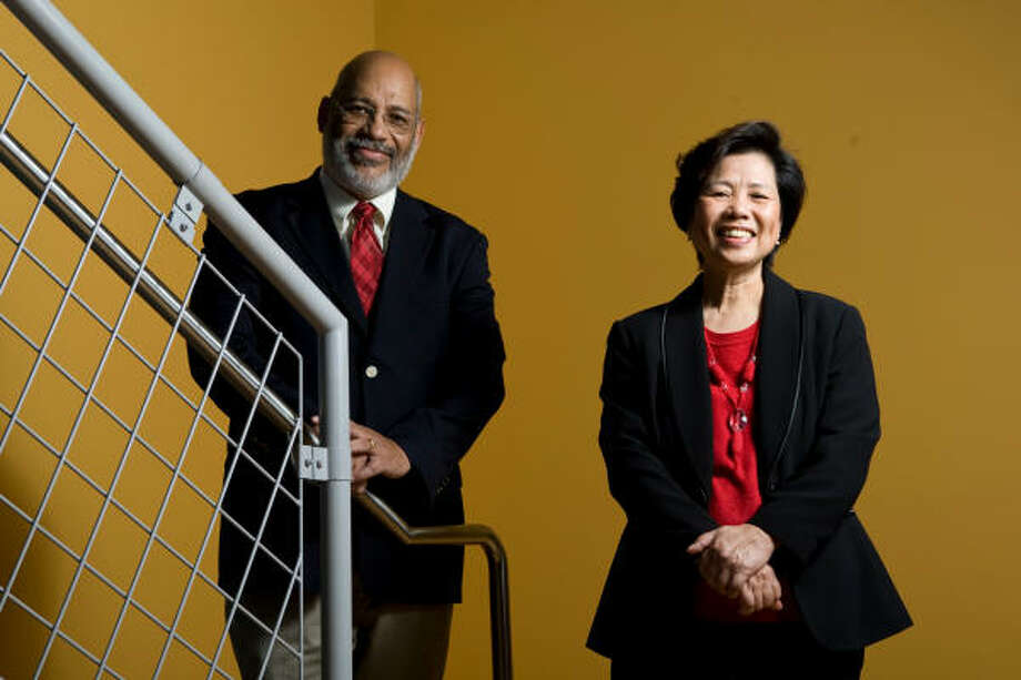 Whey-May Shen joined a clinical trial after her diagnosis. Lovell Jones, of M.D. Anderson, helps with a project trying to enhance minority participation in such trials. Photo: Melissa Phillip, Chronicle